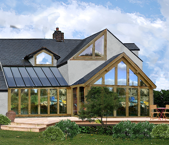 An exciting oak framed home extension ark design for Oak framed house designs